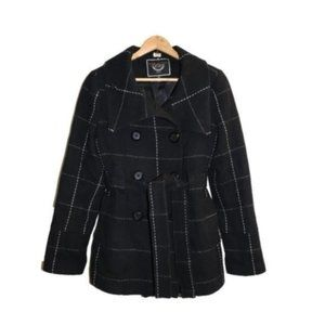 RW&Co Checkered Wool Double Breasted Peacoat